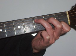 Picture of hand showing C chord on guitar